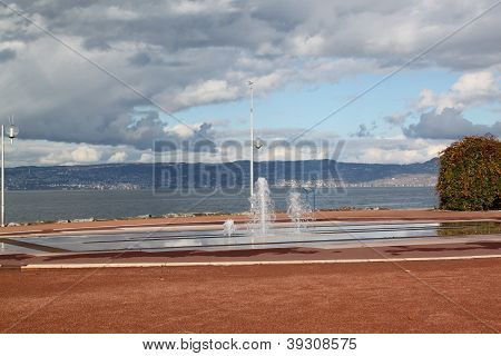 City scape Evian, France, Central Europe, autumn