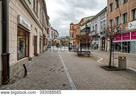 Ruzomberok, Slovakia - October 30, 2020: Empty Centre Of City Due To Coronavirus Covid-19 Restrictio