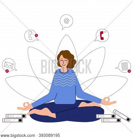 Woman Meditate To Feel More Relaxed And Free. Yoga At Job. Meditation Helps To Feel More Calm. Medit