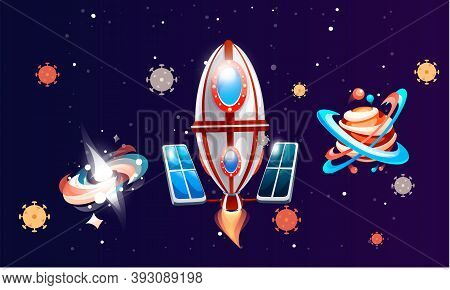 Space Game Elements, Rocket And Planets In Dark Blue Space. Cartoon Luminous Shine Cosmic Objects Ro