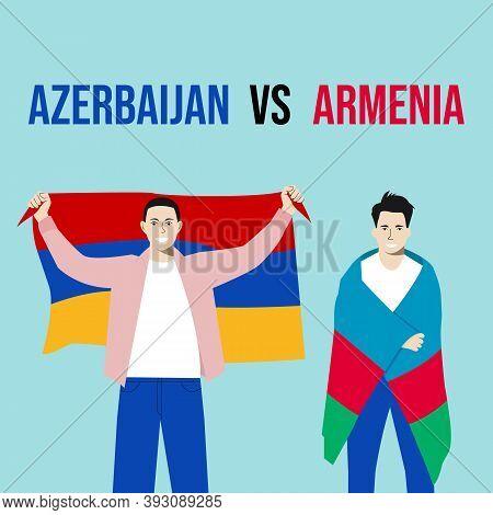 Armenia Vs Azerbaijan War Background. International Clash Symbol Armenia Vs Azerbaijan. Couple Mans