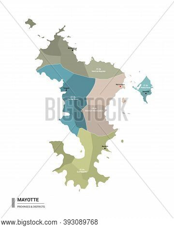 Mayotte Higt Detailed Map With Subdivisions. Administrative Map Of Mayotte With Districts And Cities