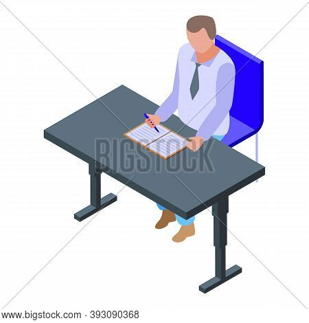 Desktop Man Writing Icon. Isometric Of Desktop Man Writing Vector Icon For Web Design Isolated On Wh
