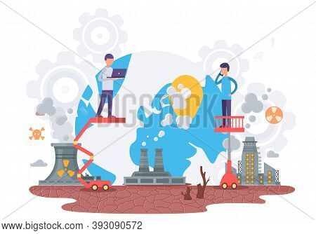 Harmful Impact Of Human Activity On The Environment Vector Illustration. Influence Of Factories Prod
