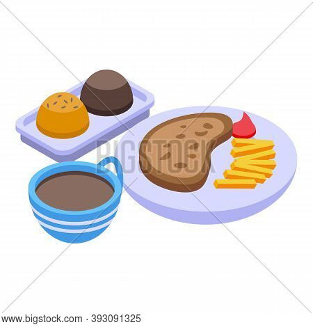 Lunch Coffee Food Icon. Isometric Of Lunch Coffee Food Vector Icon For Web Design Isolated On White