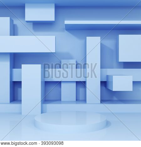 Stand for product, abstract geometric shapes, blue colors, 3D illustration, rendering.