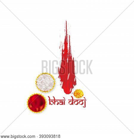 Bhai Dooj With Creative Background With Diyas Hanging. Brother Sister Sacred Festival Of Bonding The