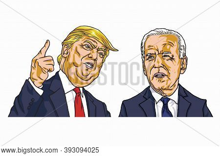 Donald Trump And Joe Biden Presidential Campaign Election Cartoon Caricature Vector Drawing Illustra