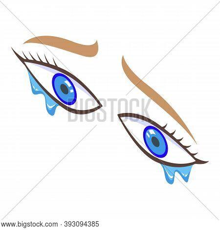 Crying Eyes Icon. Isometric Of Crying Eyes Vector Icon For Web Design Isolated On White Background
