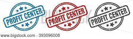 Profit Center Stamp. Profit Center Round Isolated Sign. Profit Center Label Set