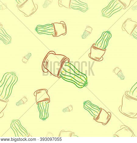 Seamless Pattern. Linear Drawing Of A Cactus. Cactus In A Pot. Houseplant. Gardening.isolated. Vecto