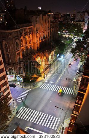 Buenos Aires, Argentina - 02 May 2016: The Street At Night In Buenos Aires, Argentina