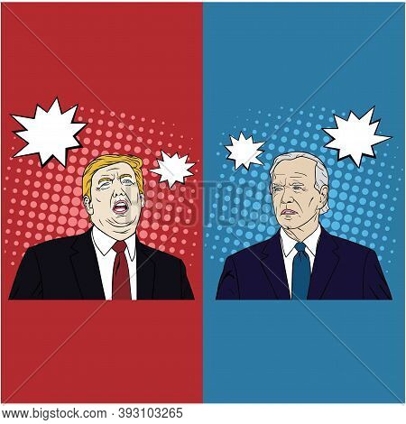 Election Of Usa, Joe Biden And Donald Trump Debate, Cartoon, Flat Design, Pop Art Design, Vector, Il