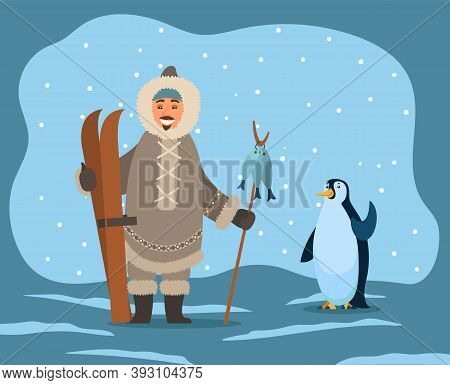 Eskimos Wearing Warm Coat And Clothes Protection From Frost And Cold Of Winters. Inuit With Skiing E
