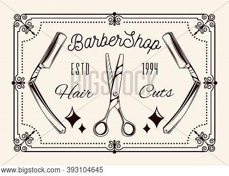 Vintage Dangerous Razors, Hairdressing Scissors, Curled Frame, Lettering Barbershop, Estd 1994, Hair