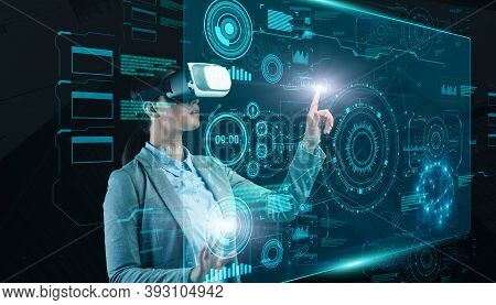 Innovative Business And Modern Technologies Concept. Female Entrepreneur In Vr Headset Pressing Butt