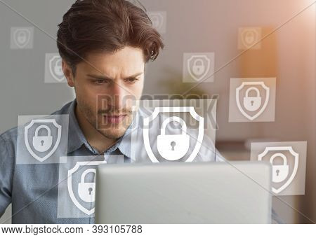 Business Project, Data Protection And Cybersecurity Online. Focus On Pensive Busy Young Man In Shirt