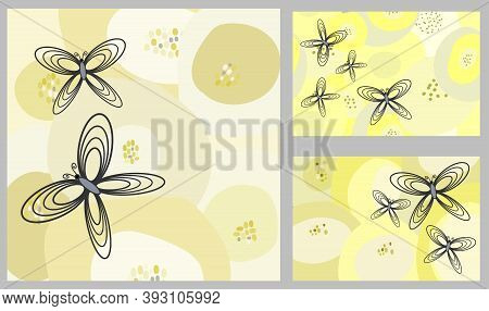 Creative Vector Background Of Butterflies As Storyboard Template Cards Flyers, Advertisement Promoti