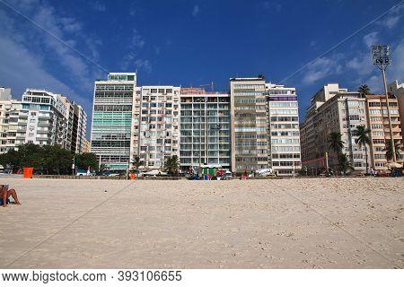 Rio De Janeiro, Brazil - 07 May 2016: Copacabana Beach In Rio De Janeiro, Brazil