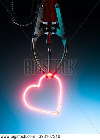 Robotic Claw Grabbed Red Heart Icon Made Of Neon Lamps. Like Icon 3d Rendering