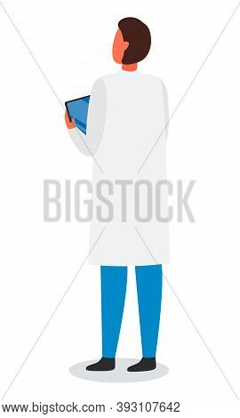 Laboratory Assistant, Scientist, Engineer, Researcher, Doctor Wearing White Gown Holding Digital Tab