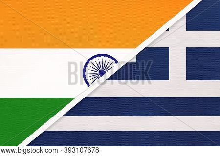 India And Greece Or Hellenic Republic, Symbol National Flags From Textile. Relationship, Partnership