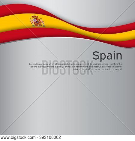 Abstract Waving Spain Flag. Paper Cut Style. Creative Background For Spain Patriotic Holiday Card De