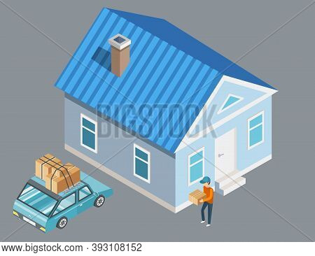 Moving To Another House, Vector Guy With Package In Hands Carrying Things To Car, 3d Illustration. M