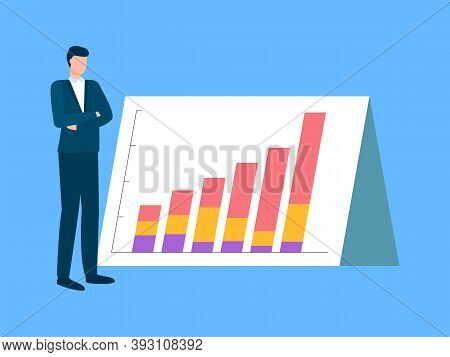 Board With Information In Visual Representation Vector, Man Wearing Formal Clothes, Businessman Thin