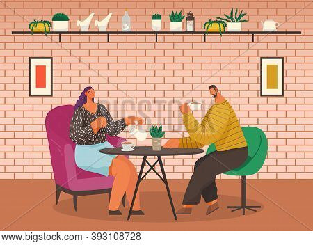 Two People Eating Out. Man And Woman Drinking Coffee And Talking With Each Other In Cafe. Coffeehous