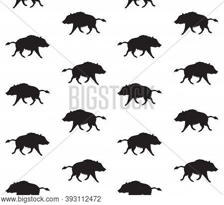 Vector Seamless Pattern Of Hand Drawn Doodle Sketch Wild Boar Silhouette Isolated On White Backgroun