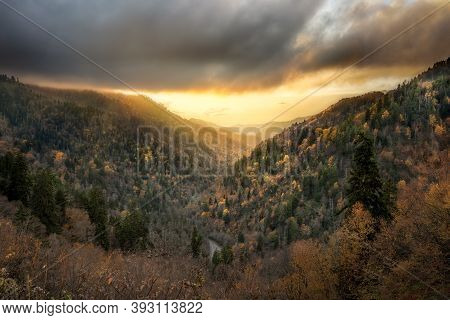 Stunning Fall Sunset From An Elevated Overlook In Tennessee