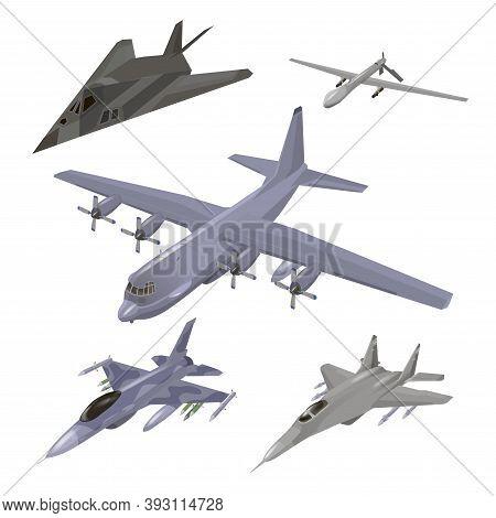 Military Aircraft Set. Fighter Jet, F-117 Nighthawk, Interceptor, Cargo Airplane, Spy Drone Vector I