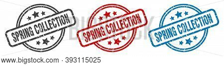 Spring Collection Stamp. Spring Collection Round Isolated Sign. Spring Collection Label Set