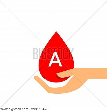Blood Drop A Type On Hand For Icon, Clip Art Red Blood Drop, Blood A Type, Drop Blood In Hand Symbol