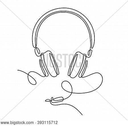 Continuous Line Drawing Of Headphones. Headphones Music And Technology Symbols. Vector Illustration.