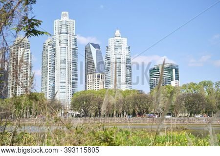 Buenos Aires / Argentina; Oct 6 2020: In The Foreground, Vegetation And Lagoon Of The Costanera Sur