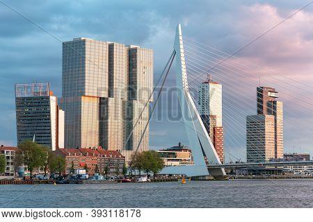 Rotterdam, Netherlands - April 26, 2019 : Downtown Rotterdam Skyline With Erasmus Bridge, De Rotterd