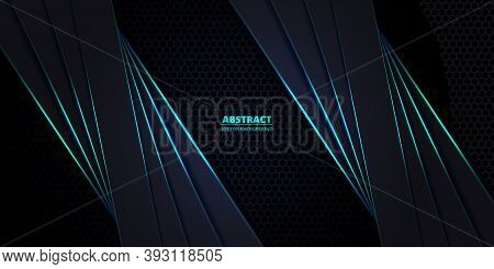 Dark And Turquoise Hexagonal Carbon Fiber Background With Turquoise Luminous Lines And Highlights. T