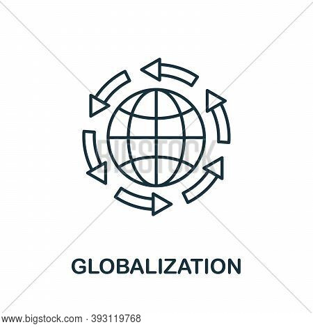 Globalization Line Icon. Simple Element From Digital Disruption Collection. Outline Globalization Ic