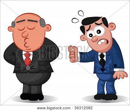 Business Cartoon - Boss Man Doesn't Listen to Employee