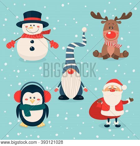Vector Christmas Cute Characters And Animals Set. Santa Claus, Snowman, Reindeer, Gnome, Penguin In