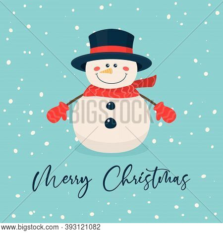 Merry Christmas Postcard. Vector Christmas Cute Snowman With Hat And Scarf In Flat Style. Design Tem