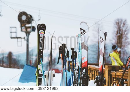 Rosa Khutor, Sochi, Russia - March 11, 2018: Mounting Skiing Resort In Winter Season. Snowboards And
