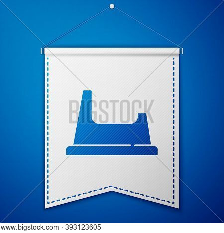 Blue Baby Potty Icon Isolated On Blue Background. Chamber Pot. White Pennant Template. Vector