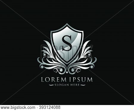 Luxury Shield S Letter Logo. Graceful Elegant Silver Shield Icon Design.