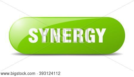 Synergy Button. Sticker. Banner. Rounded Glass Sign