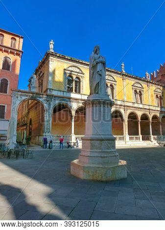 Verona, Italy - September 22, 2014: Dante Alighieri Statue In Piazza Dei Signori - Verona, Italy