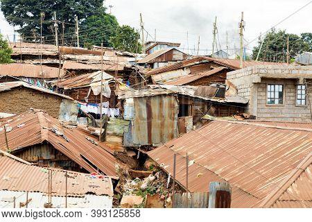 Kibera Slum In Nairobi. Kibera Is The Biggest Slum In Africa. Slums In Nairobi, Kenya.