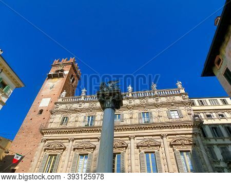 Verona, Italy - September 22, 2014: The Winged Lion Of St Mark, Symbol Of The Venetian Republic, In